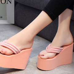 Women's high heel sandals with sandals with thick rubber soles pink 41