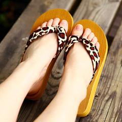 Sandals flip-flops fashion lady's sandals flip-flops with platform heels brown 35
