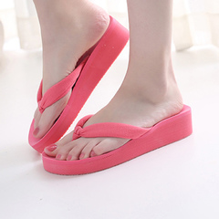 New summer thickness flip-flops with slip-resistant high heel for casual beach slippers Watermelon red 39