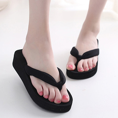 New summer thickness flip-flops with slip-resistant high heel for casual beach slippers Dark blue 36