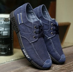 New men's shoes: men's earth washed denim canvas shoes, work shoes, cloth shoes TB05 blue 44