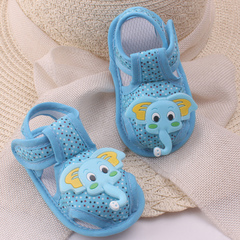 0-1 year old summer new cartoon elephant baby shoes cloth soft soles baby sandals baby shoes blue 11