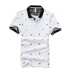 Cotton men's short-sleeved T-shirt youth lapel polo shirt white men's shirt half sleeve trend Some white garden M