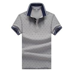 Cotton men's short-sleeved T-shirt youth lapel polo shirt white men's shirt half sleeve trend The deer gray XXXXL