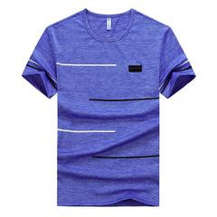 Men's summer Korean short-sleeved T-shirt trend personality slim bottom top top ice 2019 blue M