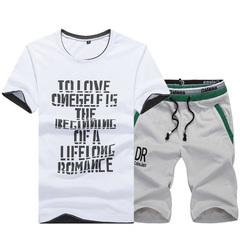 Summer short-sleeved T-shirt set men's shorts summer casual sport loose size five-minute pants gray L