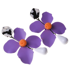 New European and American fashion big brand alloy petal earrings 6 color accessories purple 1 a
