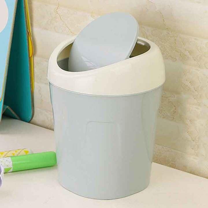 Plastic storage bin mini desktop bin living room table bedside flip bin green 10.2*13*13.2*16.8cm