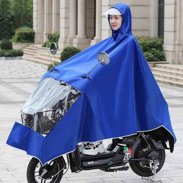 Raincoat electric car battery car poncho motorcycle riding rain gear adult Oxford cloth Large double hats - navy blue all code
