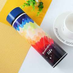 Heat preservation double layer stainless steel cartoon fashion personality cup couple office cup sunset 500 ml