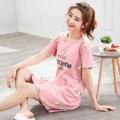 Summer new milk silk nightgown for ladies cute cartoon loose size pajamas Cartoon pink M