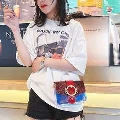 New versatile fairy cross-body bag with sequined jelly transparent squares Ga color All code