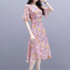 Knit dress with long summer lotus leaf sleeves, high waist and knee length pink M