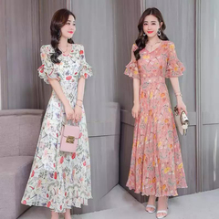 Summer temperament broken flower skirt summer fashion mom dress chiffon long dress apricot M