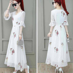 New summer waist chiffon dress ladies white popular skirt temperament slim skirt Small yellow flowers M