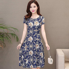 Mother summer dress too rich too elderly women spring dress large size noble dress blue M