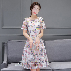 Summer new temperament popular women's fashion slim slim dress with short sleeves Graph coloring M