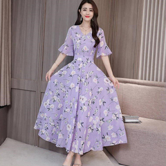 New mom slimming print dress women's short sleeves long floral a-line train skirt purple M