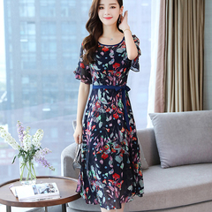 Floral chiffon dress and maxi dress 2019 summer look slim and long beach dress navy M