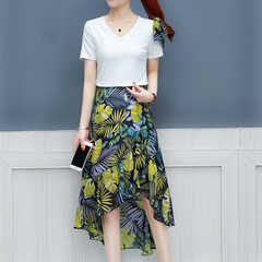Summer dress two-piece set of elderly rich too too set of foreign gas noble cover belly size white M