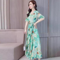 Middle-aged and elderly women's dresses are fashionable and long printed dresses green M