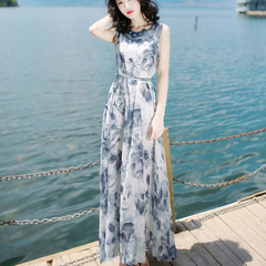 Summer 2019 women's dress slim sleeveless chiffon dress dress beach resort dress Graph coloring M