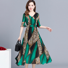 Leopard-print folk dress, new high-end over-the-knee mom chiffon for summer 2019 green M