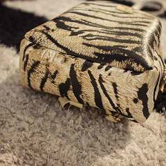 New pu soft leather backpack with tiger print for female animal Pale yellow 1