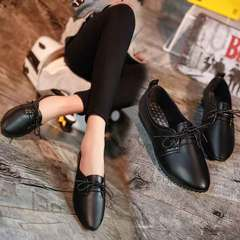 Women's shoes small white shoes with a lacing at the top and flat low heels for women black 35