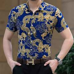 Men's casual mercerized cotton printed shirt with short sleeves and lapel collar 911 blue 165/M (90 kg -125 kg)