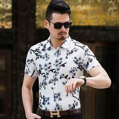 Men's casual mercerized cotton printed shirt with short sleeves and lapel collar 927 white 185/3 xl (175 jins - 195 catties
