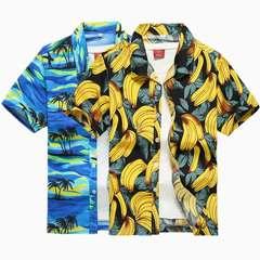 Men's printed short-sleeved shirt size men's quick dry beach shirt loose casual shorts 79 dark blue trousers 5XL