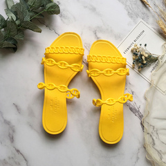 New 2019 hot style flat bottom summer slippers web celebrity pig nose slippers yellow 35