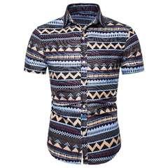 Men's casual floral shirt men's short sleeve shirt European size short sleeve shirt trend Cs101 S