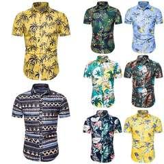 Men's casual floral shirt men's short sleeve shirt European size short sleeve shirt trend CS108 2XL