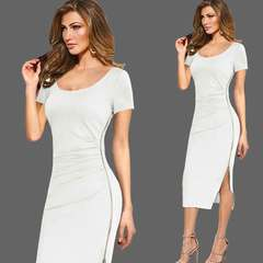 New women's backless sheath topless dress with side zipper slit professional dress white S