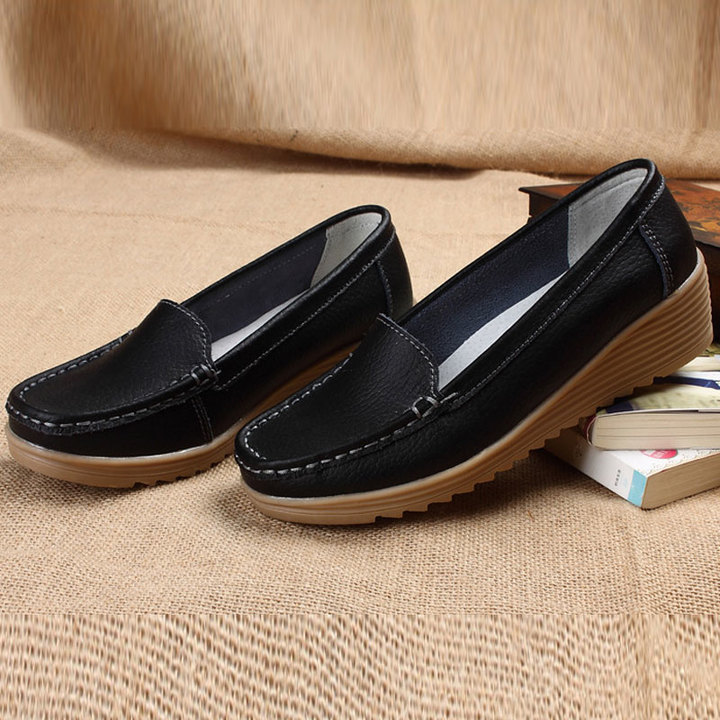 Casual flat sole women's shoes with middle and old women's shoes black 35