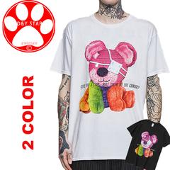 2019 Man Women T- Shirt Carton Print Cotton Loose  Clothing T-shirt Hip Hop Carton Shirt Top  Cloth black l