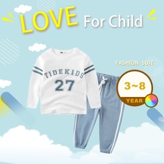 Tracksuit for Children Clothing Kid Clothes Sports Suit Boy and Girl Striped and Letter T-shirt Pant Water Blue 90cm