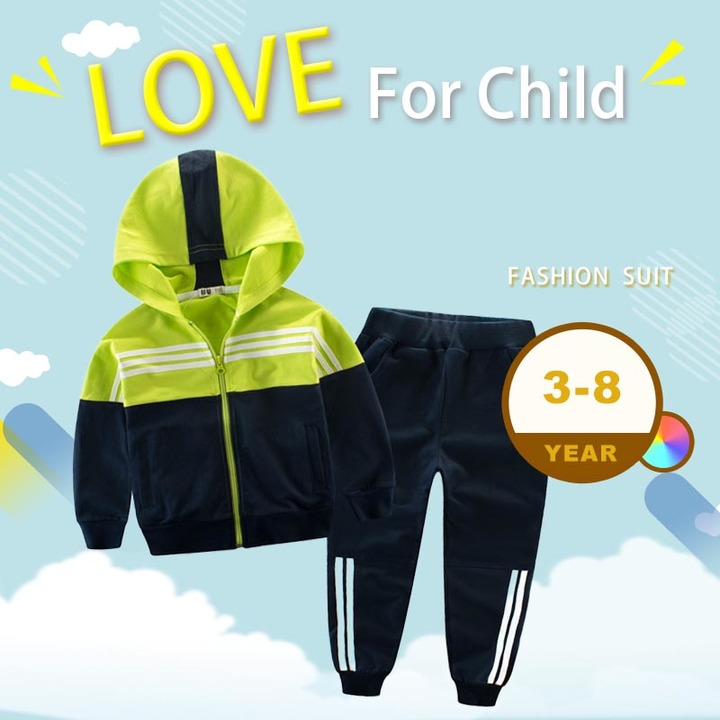 Children Clothing Sport Suit For Boy And Girl Hooded Outwears Long Sleeve Set Casual Tracksuit green 90cm