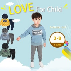 Tracksuit for Children Kid Clothes Sport Suit for Boy and Girl Letter Printed T-shirt Pants What ? water blue 90cm