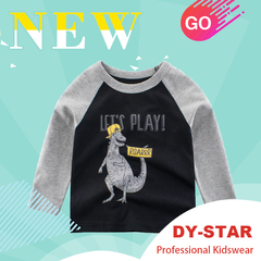 Cartoon Boy Long Sleeve T Shirt For 2-9Y Cotton Children Kid Top Tees Spring Autumn Children Clothes grey 90cm