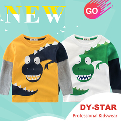 Cartoon Dinosaur Boys Long Sleeve T-Shirt For 2-8Years Cotton Children Kids Tops Tees Spring Autumn yellow 90cm