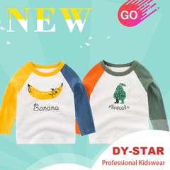 Cartoon Fruit Banana Print Baby Boys T-Shirt For Autumn Infant Kids Long Sleeve Clothes Cotton Tops white/yellow/blue 90cm