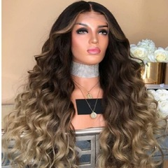 2019 new wig long curly hair chemical fiber ladies fashion long bangs rose net hair sets Photo Color 65 cm