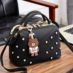 Inlay brick bag new bag female flower Korean fashion handbags slung shoulder Women's Bags black 25*13*16 cm