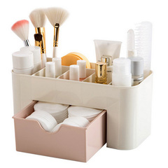 Plastic cosmetics multi-function jewelry storage box drawer with drawer storage box office storage pink
