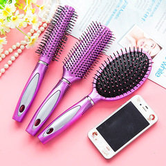 Hairdressing anti-static hair brush comb comb roll straight hair Liu Hai pear flower cylinder comb As shown in color Cylinder