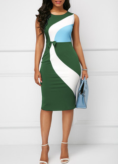2019 large size Slim bag hip round neck skirt round neck sleeveless OL commuter female dress green s