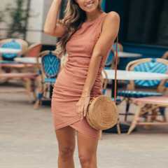 New fashion sexy round neck Slim bag hip skirt irregular temperament sleeveless female dress pink s